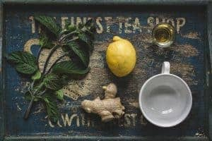 herb-ginger-lemon-oil-cup-on-tray